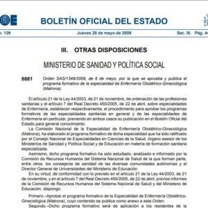 PROGRAMA FORMATIVO DE LA ESPECIALIDAD ENFERMERÍA OBSTÉTRICO-GINECOLÓGICA (MATRONA)